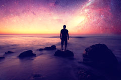 Dreamer and stars Royalty Free Stock Photos