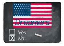 Dreamers No concept using chalk on slate blackboard. Dreamers No Vote message written in chalk on a chalky natural slate blackboard for current debate over Stock Photography