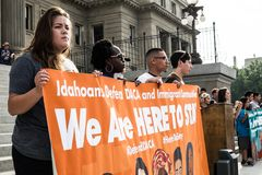 Dreamers peaceful demonstration. A peaceful demonstration was held in front of Idaho Capitol State Building Royalty Free Stock Photo