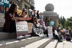 Dreamers peaceful demonstration. A peaceful demonstration was held in front of Idaho Capitol State Building Stock Images