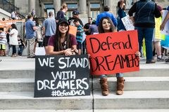 Dreamers peaceful demonstration. A peaceful demonstration was held in front of Idaho Capitol State Building Stock Image
