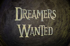 Dreamers Wanted Concept. Text on background Stock Photo