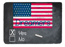 Dreamers Yes concept using chalk on slate blackboard. Dreamers Yes Vote message written in chalk on a chalky natural slate blackboard for current debate over Royalty Free Stock Photos