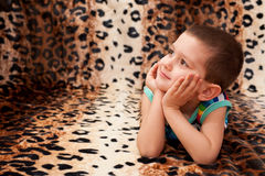 Dreamful handsome little boy Royalty Free Stock Image