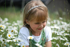 Dreamin' In Daisies. Young child in a field of wild daisies Stock Images
