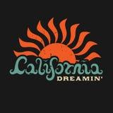Dreamin van Californië Van letters voorzien hand Stock Afbeelding
