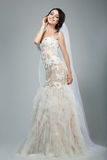Dreaminess. Full Length of Happy Bride with Closed Eyes in Sleeveless White Dress Stock Photography
