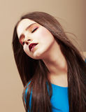 Dreaminess. Portrait of Sensual Dreaming Brunette with Straight Brown Hair Royalty Free Stock Photos