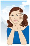 Dreaming. Girl dreaming or thinking, mountains landscape in background royalty free illustration