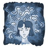 Dreaming. Hand-drawn sketch of a young woman Stock Images