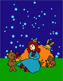 Dreaming. Illustration of a girl, two bears and a rabbit in the night full of stars Stock Photos