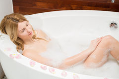 Dreaming in bathtub Stock Images