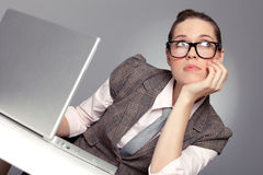 Dreaming beautiful business lady Royalty Free Stock Images