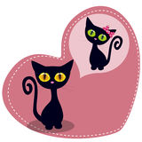 Dreaming Black kitten. Greeting card Cute Dreaming Black kitten Royalty Free Stock Images