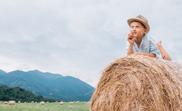 Dreaming boy in straw hat lies on roll haystack Stock Photo
