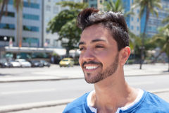 Dreaming brazilian guy in a modern city Stock Photography