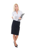 Dreaming business woman with cup of coffee and clipboard isolate. D on white background Stock Photos
