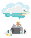 Dreaming businessman. Cartoon of a businessman dreaming of his vacation Stock Images