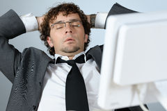 Dreaming businessman. Horizontal image of dreaming businessman Stock Photography