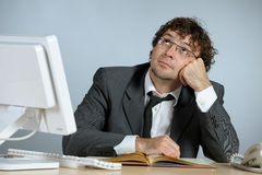 Dreaming businessman. Horizontal image of young dreaming businessman Stock Photo