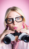Lost businesswoman searching for solution Stock Images