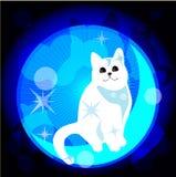 Dreaming cat. Illustration of dreaming white cat stock illustration