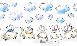 Dreaming cats seamless boarder Stock Photo