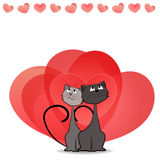 Dreaming cats. Valentine's card. Stock Image