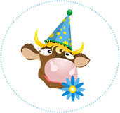 A dreaming cow. Vector illustration. Isolated cow head. Funny cow with a blue flower Royalty Free Stock Images