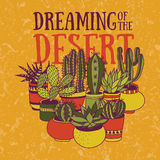 Dreaming of the desert. Hand-drawn vector illustration with succulents in pots vector illustration