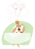 Dreaming about diet. Illustration of a lady dreaming about smaller size of her body Royalty Free Stock Photos