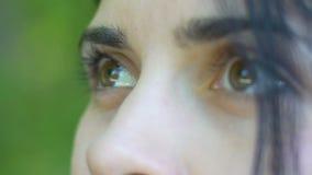 Dreaming eyes of woman look up, beautiful girl dreamer, bright future wonder joy