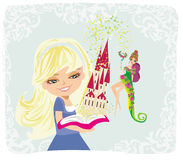 Dreaming about fairytale castle vector illustration
