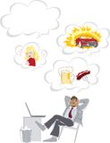 Dreaming of favorite things. An illustration or cartoon of a man sitting casually at a desk, dreaming of his favorite things royalty free illustration