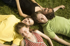 Dreaming friends. Group of young friends on the grass royalty free stock images