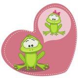 Dreaming Frog. Greeting card Cute Dreaming Frog Royalty Free Stock Photo