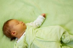 Dreaming girl. Dream of pretty little baby Royalty Free Stock Image