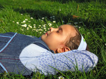 Dreaming girl. Beautiful girl dreaming in nature Royalty Free Stock Photos