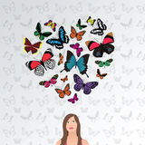 Dreaming girl, butterfly heart Royalty Free Stock Images
