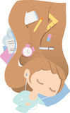 Dreaming girl with light brown hairl vector illustration