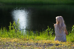 Dreaming Girl On Shore Royalty Free Stock Photo