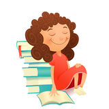 Dreaming girl in red dress sitting with textbook stock illustration