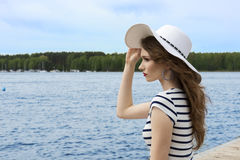 Dreaming girl in summer day Royalty Free Stock Images