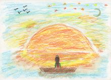 Dreaming girl and the sunset Royalty Free Stock Photos