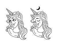 Dreaming Girl unicorn head with mane and horn. Unicorn sticker isolated on white. Portrait girl unicorn sticker, patch badge. Cute girl with horn like unicorn Royalty Free Illustration