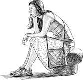 Dreaming girl. Vector drawing dreaming girl sitting on the embankment stock illustration