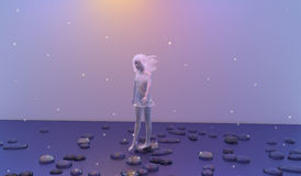 Dreaming. Girl with white hair dream walking over flat stones on a calm blue sea, stars are all over the picture, 3D illustration, raster illustration Royalty Free Stock Photo