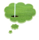Dreaming about golf. Cant stop thinking about golf? a hole in thought or dreaming bubbles Royalty Free Stock Photography