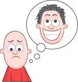 Dreaming of Growing Hair. Cartoon bald man sad and dreaming of growing hair vector illustration