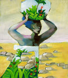 Dreaming home. A woman carrying on her head the image of the fertile land that has lost Royalty Free Stock Photo